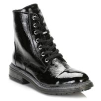 Tower Footwear - Tower Womens Black Patent Leather Ankle Boots
