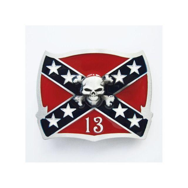 Universel Boucle de ceinture drapeau rebel crane pirate chiffre 13