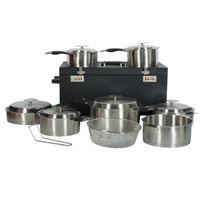 Artmetal - Batterie de cuisine 15 pièces + poignées amovibles avec valise trolley Artmétal