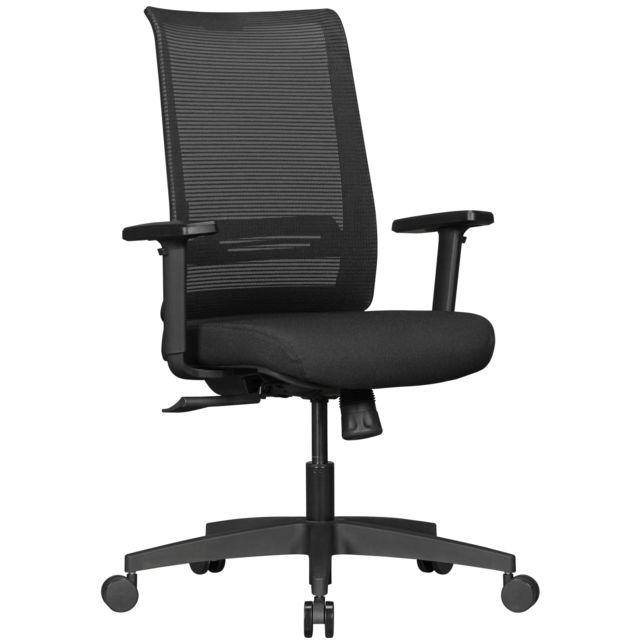 nouveau concept 02096 8f9f8 Chaise de bureau ergonomique avec couvercle en tissu noir avec dossier  résille avec accoudoirs réglables et un mécanisme de synchronisation pour  un ...
