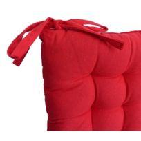 Aucune - Galette de chaise 40x40x4 cm Rouge
