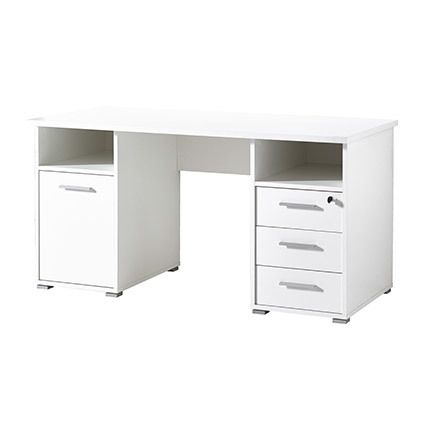 Bureau 1 porte 3 tiroirs 2 niches 145x75x70cm blanc