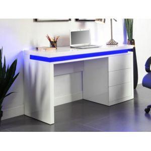 Marque generique bureau emerson 3 tiroirs mdf laqu for Bureau blanc laque pas cher