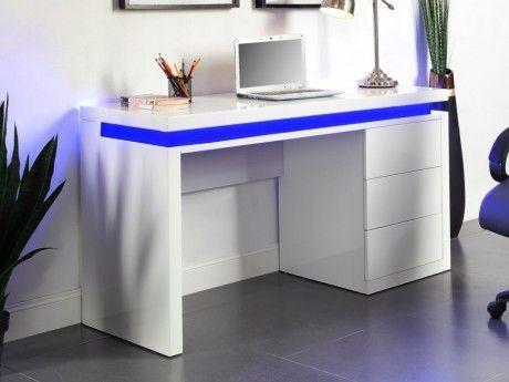 Marque Generique - Bureau Emerson - 3 tiroirs - Mdf laqué blanc ...