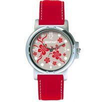 Beuchat - Montre Femme ou Adoslescente Gris motifs fleurs rouges - Beu9981