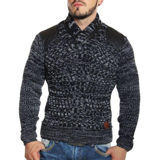 0ed07208e2ff Young and Rich - Pull en laine col châle noir - pas cher Achat   Vente Pull  homme - RueDuCommerce