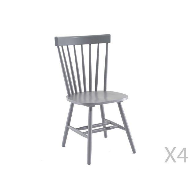 Axe Design - Chaise à barreaux vintage en bois - lot de 4 Olaf - Gris