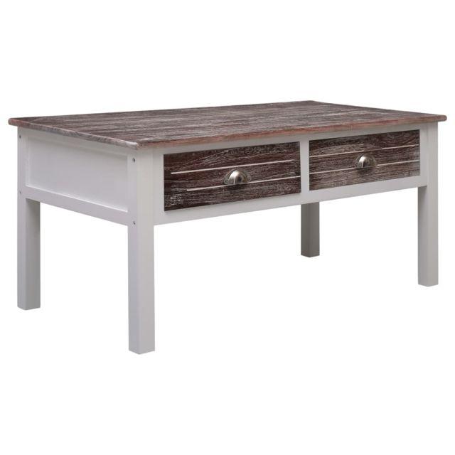 Vidaxl Bois Table Basse Marron Table d'Appoint Salon Canapé Rangement Maison