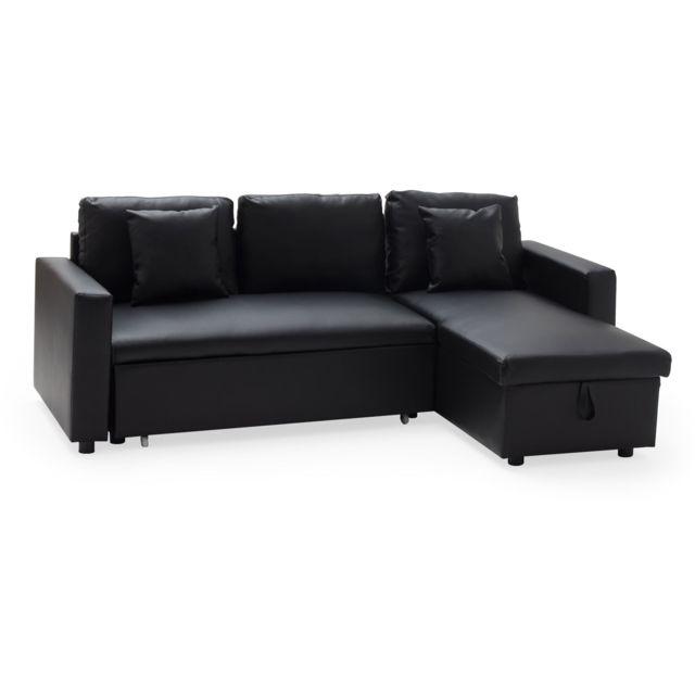 HAPPY GARDEN Canapé d'angle convertible simili cuir CLARK 3 places noir