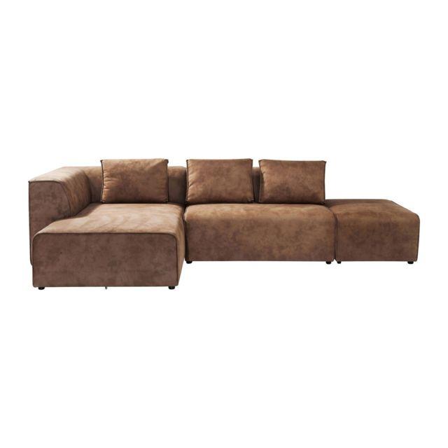 Karedesign Canapé d angle Infinity gauche cognac Kare Design