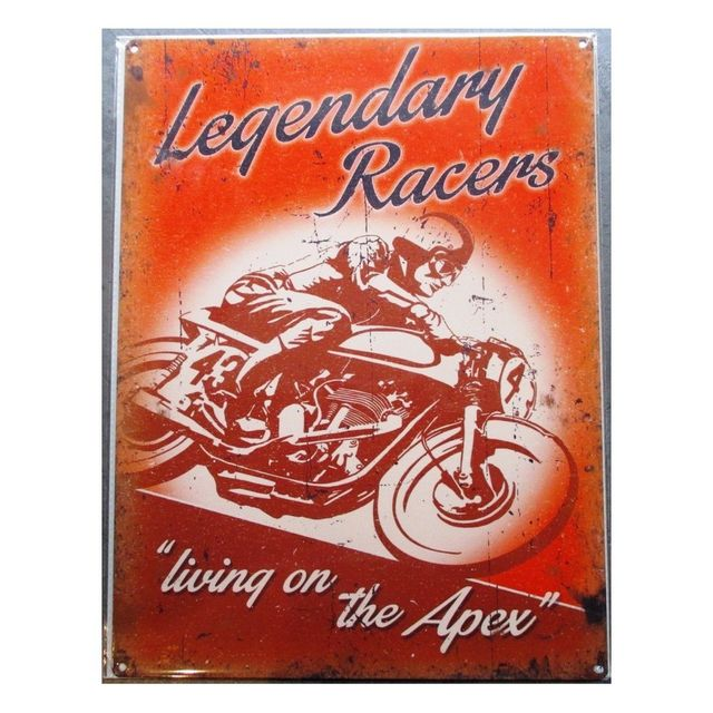 Universel Plaque Legendary Racers Moto Ancienne Tole Deco Garage