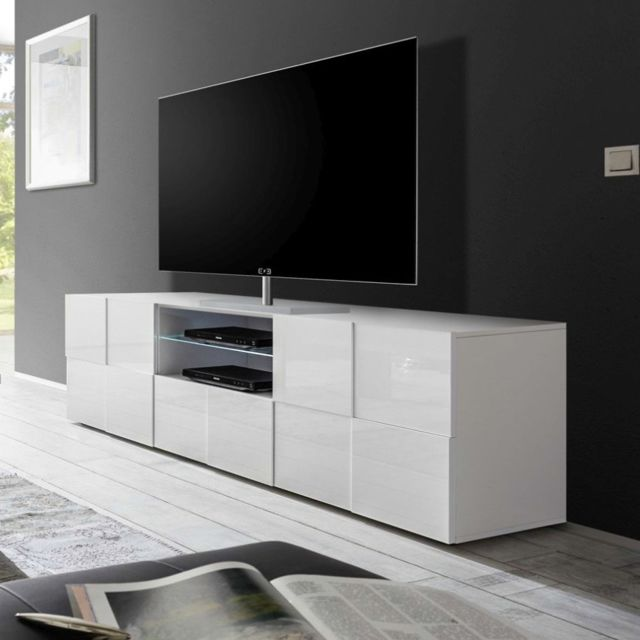 Sofamobili Grand meuble Tv blanc laqué brillant Artic