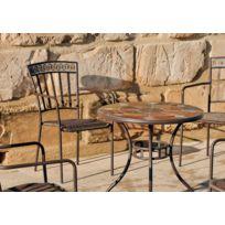 table jardin fer forge mosaique - Achat table jardin fer forge ...