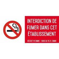Editions Uttscheid - Interdiction interdit de fumer dans cet établissement - Autocollant vinyl waterproof - L.200 x H.100 mm
