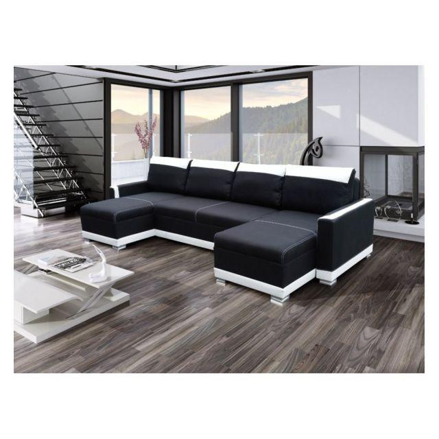 Générique Canapé d'angle U convertible Funto Noir et blanc