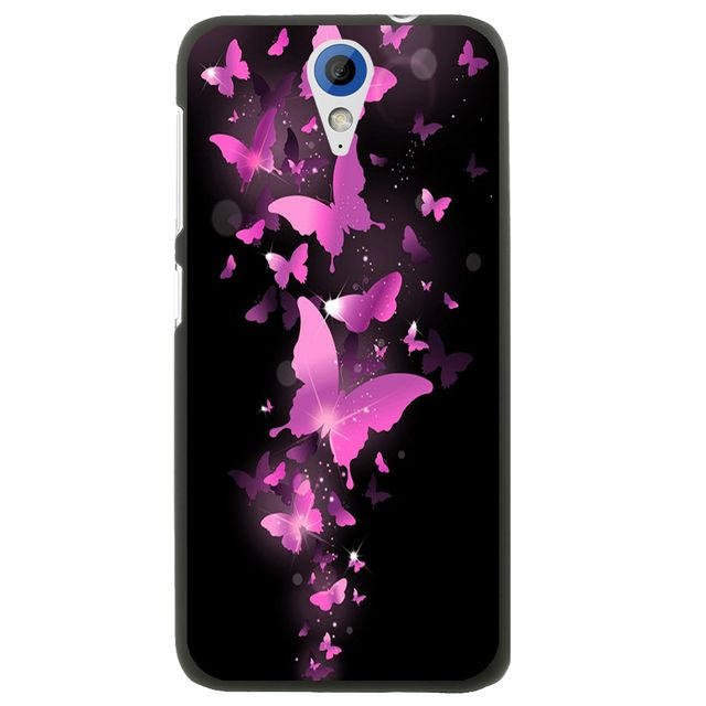 Kabiloo coque rigide noire pour htc desire 620 avec impression motif papillons fushias