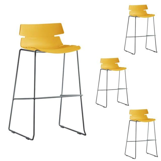 tabourets bar jaune. Black Bedroom Furniture Sets. Home Design Ideas