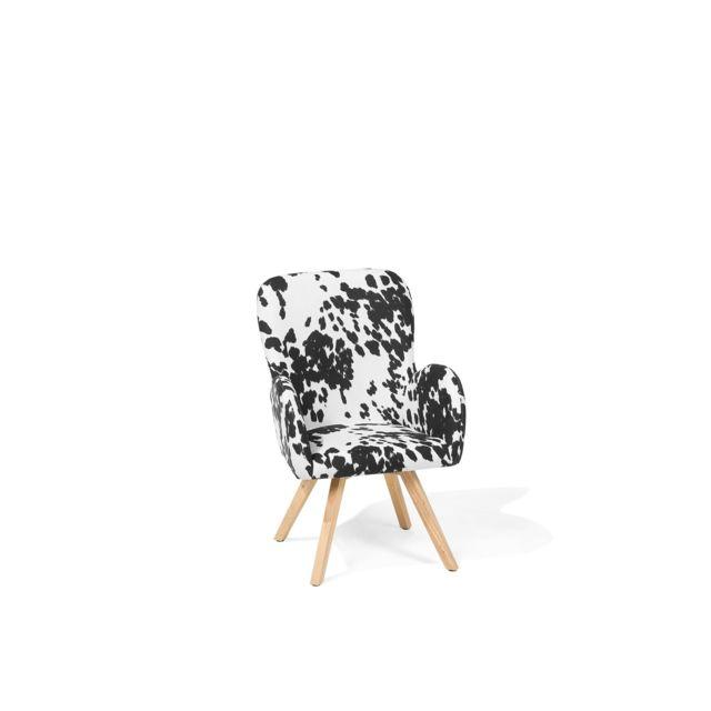 BELIANI Fauteuil en tissu tapissé motif peau de vache BJARN - noir et blanc
