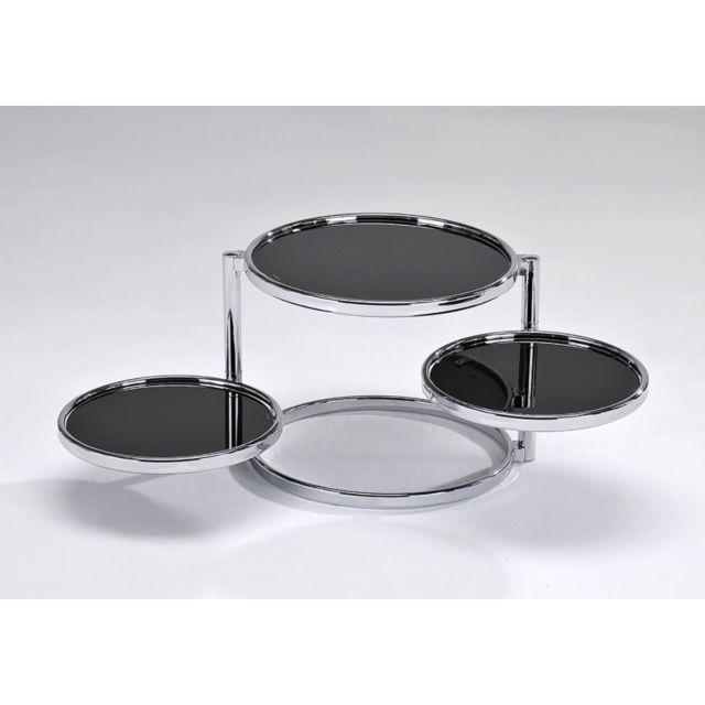 Meubletmoi Table basse chromée ronde 3 plateaux - Studio 54