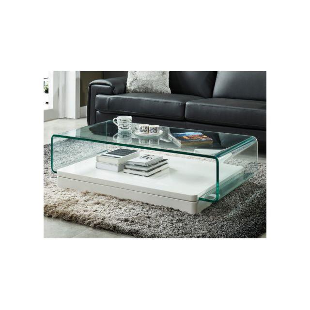 6ad4e8ae5e5132 MARQUE GENERIQUE - Table basse GLOSSIE - Verre courbé   MDF laqué blanc