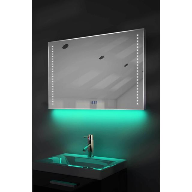 diamond x collection miroir salle de bain horloge num lumineux rvb anti bu e capteur. Black Bedroom Furniture Sets. Home Design Ideas