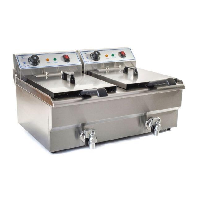 Autre Friteuse acier inox 2 bacs 10 litres cuve amovible avec minuterie professionnelle 3614023