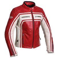 Segura - blouson moto cuir femme Lady Jones vintage toutes saisons rouge-mastic Scb1061 T5 46