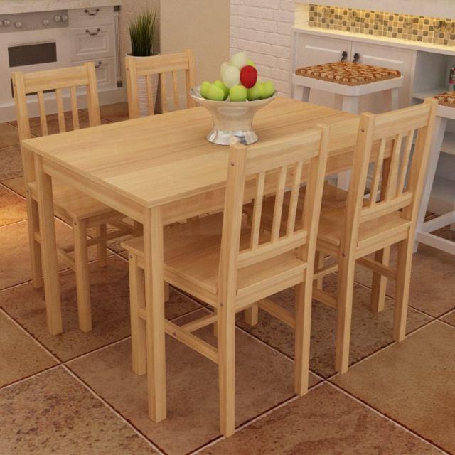 Sans Marque Table à manger avec 4 chaises en bois Naturel