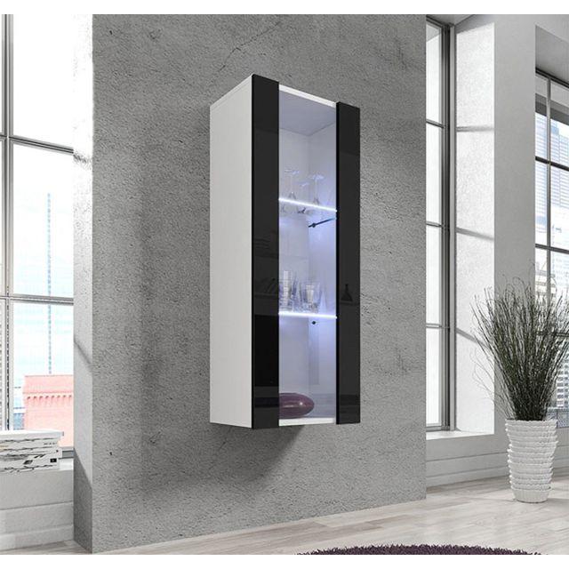 Design Ameublement Armoire mural modele Zarco blanc avec noir