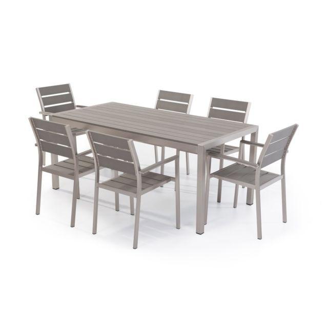 BELIANI - Table de jardin et 6 chaises aluminium plateau en ...