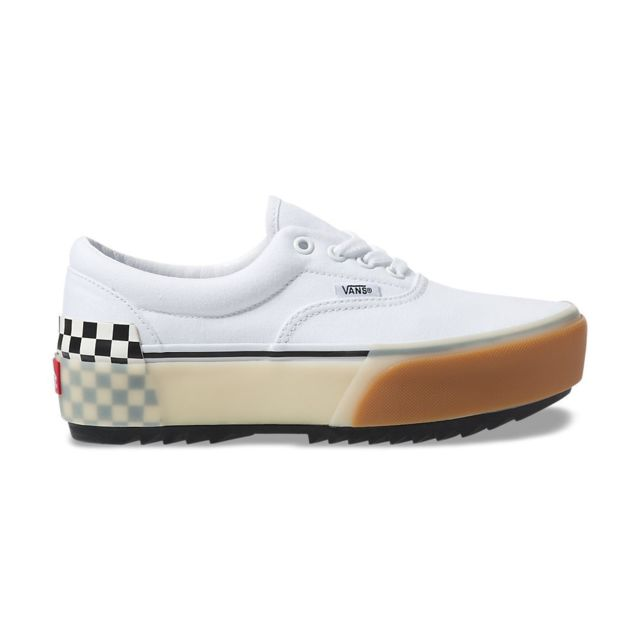 Vans Era stacked, Whitecheckerbo pas cher Achat Vente