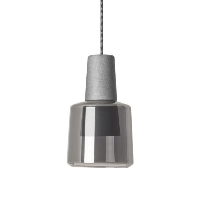 Leds C4 Suspension Khoi, aluminium et verre, gris ciment