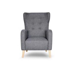declikdeco fauteuil scandinave dossier haut tissu anthracite aquitaine gris pas cher achat. Black Bedroom Furniture Sets. Home Design Ideas