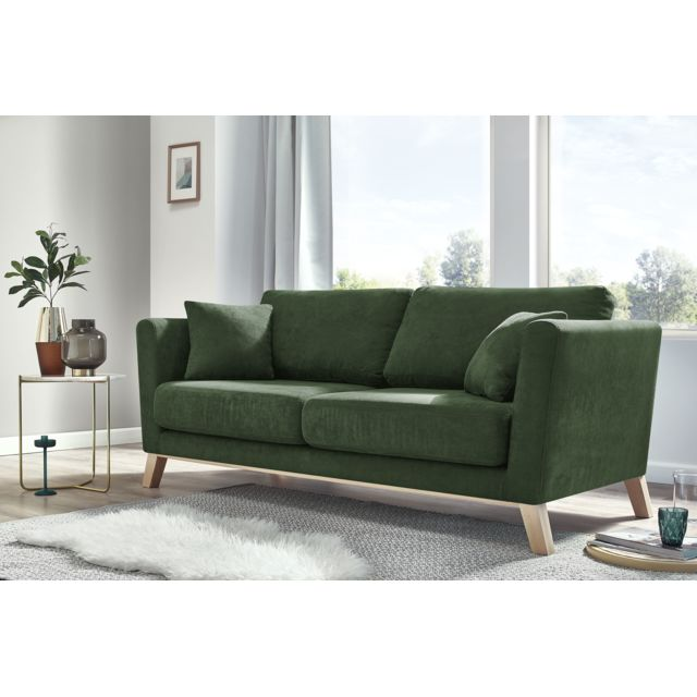 bobochic canape 3 places fixe doblo vert fonce lescavesdeluzege. Black Bedroom Furniture Sets. Home Design Ideas