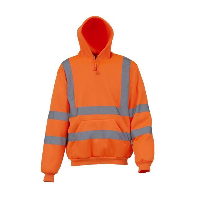 Yoko Sweatshirt à capuche haute visibilité - Homme Lot de 2, L, Orange Utrw6877