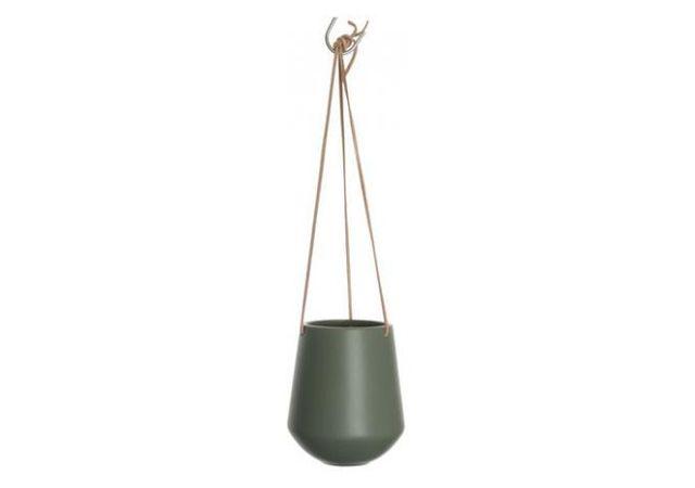 Declikdeco - Vase A Suspendre En Céramique Vert Kaki Neso 14cm x 15cm x 15cm