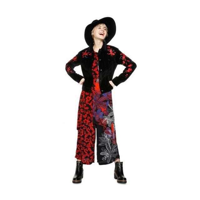 Desigual Veste Courte Femme Osaka Noir Manche Motif Fleur 18wwew82