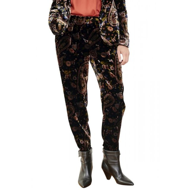 Mkt Pantalon velours imprimé fleuri Primas