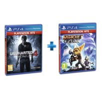 SONY - 2 jeux PS4 HITS : UNCHARTED 4 A THIEFS + RATCHET & CLANK