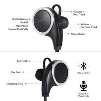 Alpexe - Ecouteurs Bluetooth 4,1 Stéréo avec Micro Oreillettes Sans Fil de Sport pour Apple iPhone, Smartphones Android, Windows et Autres Appareils Bluetooth Noir