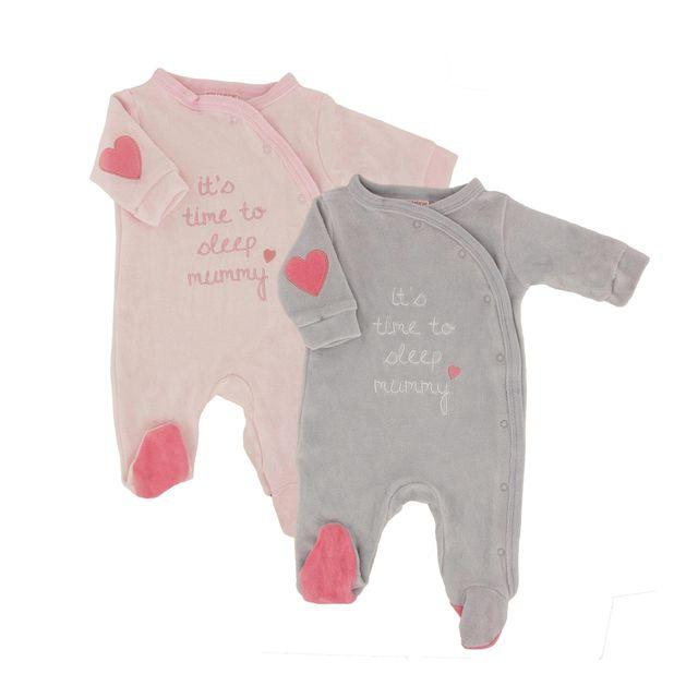 Mignon A Croquer - Pyjamas Bébé Lot de 2 Couleur - Gris Rose 06f23106677