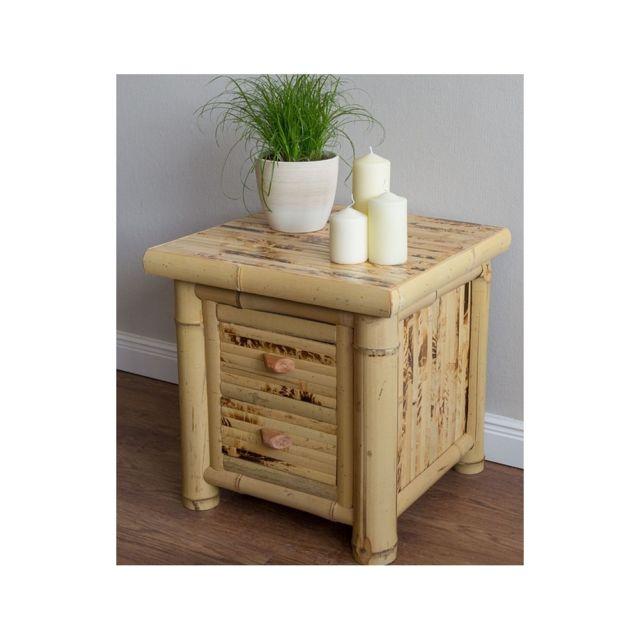homestyle4u bambou table de nuit commode bois naturel vernis pas cher achat vente chevet. Black Bedroom Furniture Sets. Home Design Ideas