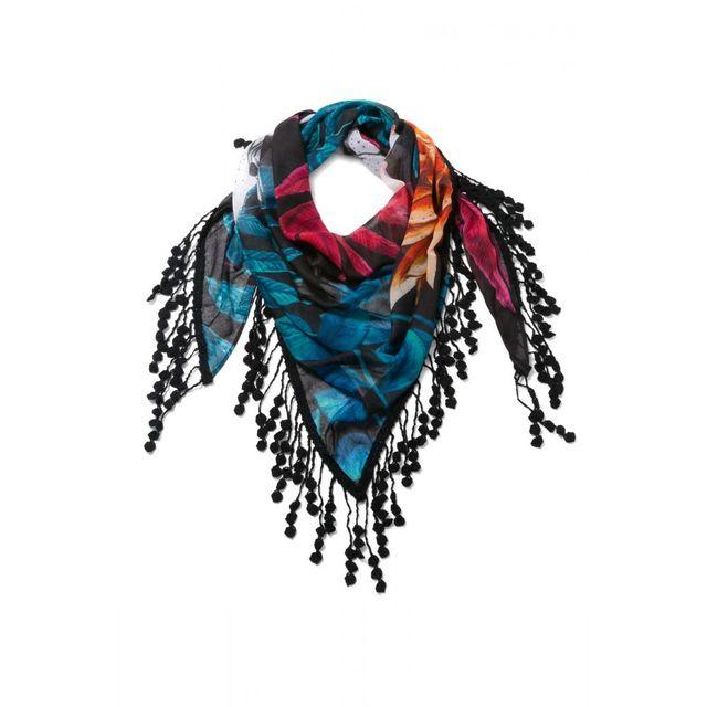 Desigual - Foulard Triangle Spring exp Noir 72W9EC2 - pas cher Achat    Vente Echarpes, foulards - RueDuCommerce 8384f721e53