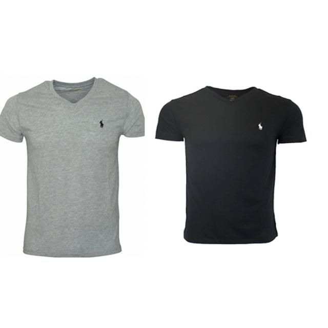 Ralph Lauren - Lot De 2 T-shirts Col V Gris Et Noir - pas cher Achat ... ce449fbbe9f6