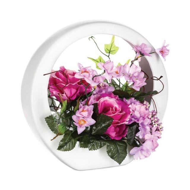 Composition florale de rose - L 26 x l 16 x H 28 cm - Rose