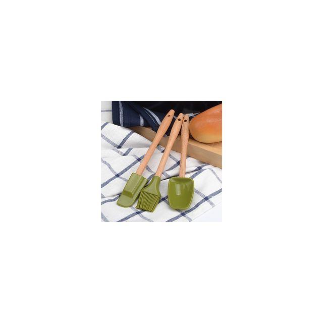 Alpexe Lot 3 ustensiles de cuisine cuillere bois et silicon, pinceau, racloire