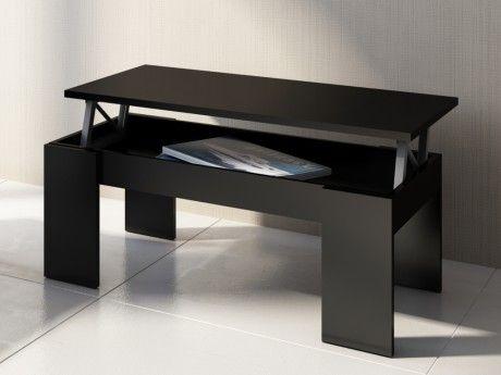 Vente-unique Table basse Carmela - Plateau relevable - Bois & Mdf - Coloris noir