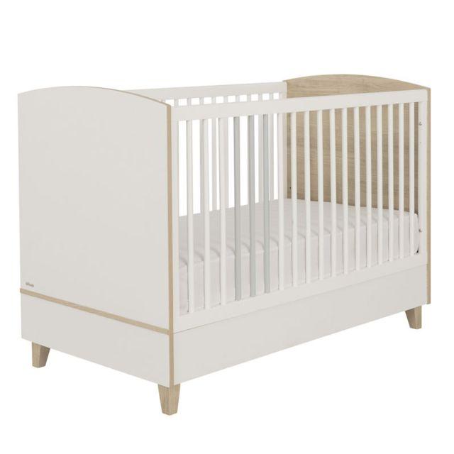 Tousmesmeubles Lit bébé évolutif Blanc/Bois - Nours