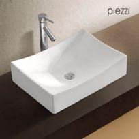 Piezzi   Vasque Rectangulaire En Céramique Blanche   Agata