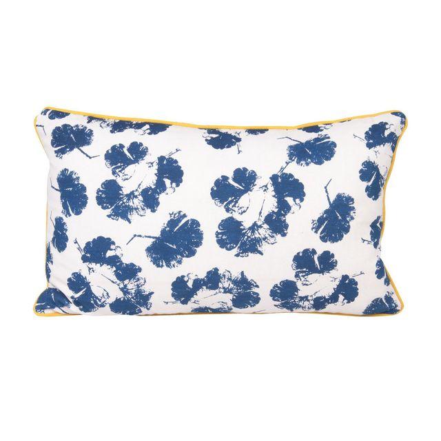 Present Time - Coussin déhoussable 100% coton passepoil jaune motif fleur bleu Autumn Sense - 30x50cm 0cm x 0cm